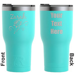 Lotus Flowers RTIC Tumbler - Teal - Engraved Front & Back (Personalized)