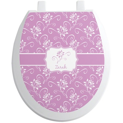Lotus Flowers Toilet Seat Decal - Round (Personalized)