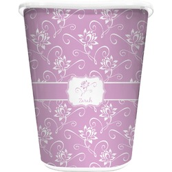 Lotus Flowers Waste Basket - Double Sided (White) (Personalized)