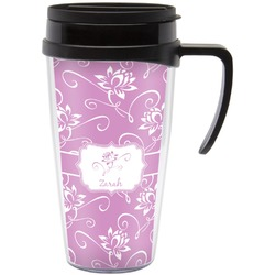 Lotus Flowers Travel Mug with Handle (Personalized)