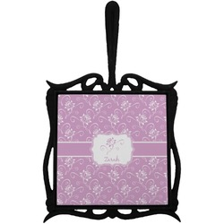 Lotus Flowers Trivet with Handle (Personalized)