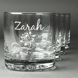 Lotus Flowers Whiskey Glasses (Set of 4) (Personalized)