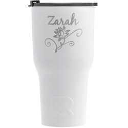 Lotus Flowers RTIC Tumbler - White - Engraved Front (Personalized)