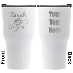 Lotus Flowers RTIC Tumbler - White - Engraved Front & Back (Personalized)