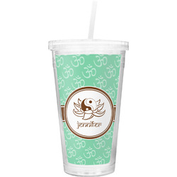 Om Double Wall Tumbler with Straw (Personalized)