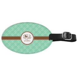 Om Genuine Leather Oval Luggage Tag (Personalized)