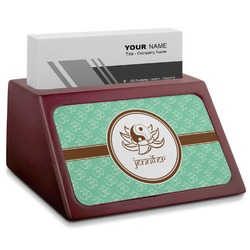 Om Red Mahogany Business Card Holder (Personalized)