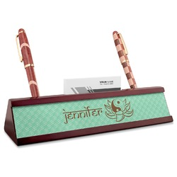 Om Red Mahogany Nameplate with Business Card Holder (Personalized)