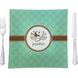 """Om 9.5"""" Glass Square Lunch / Dinner Plate- Single or Set of 4 (Personalized)"""