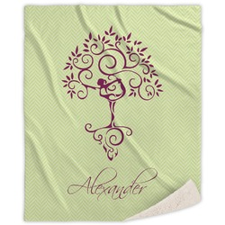 Yoga Tree Sherpa Throw Blanket (Personalized)