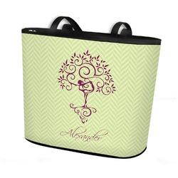 Yoga Tree Bucket Tote w/ Genuine Leather Trim (Personalized)