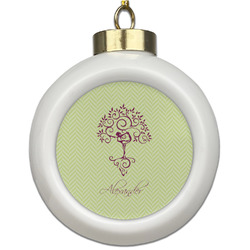 Yoga Tree Ceramic Ball Ornament (Personalized)