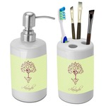 Yoga Tree Bathroom Accessories Set (Ceramic) (Personalized)