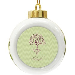 Yoga Tree Ceramic Ball Ornament (Personalized)