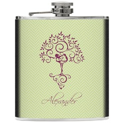 Yoga Tree Genuine Leather Flask (Personalized)