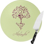 Yoga Tree Round Glass Cutting Board (Personalized)