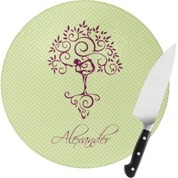 Yoga Tree Round Glass Cutting Board (Personalized)