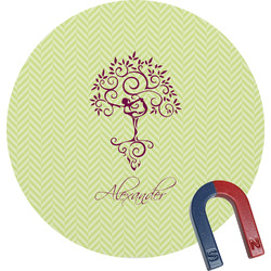 Yoga Tree Round Magnet (Personalized)