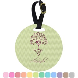 Yoga Tree Round Luggage Tag (Personalized)
