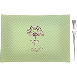 Yoga Tree Glass Rectangular Appetizer / Dessert Plate - Single or Set (Personalized)