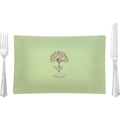 Yoga Tree Rectangular Glass Lunch / Dinner Plate - Single or Set (Personalized)