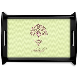 Yoga Tree Black Wooden Tray (Personalized)