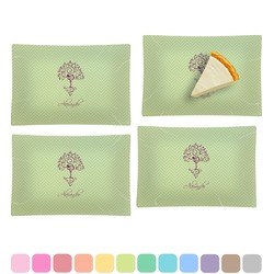 Yoga Tree Set of 4 Rectangular Appetizer / Dessert Plates (Personalized)