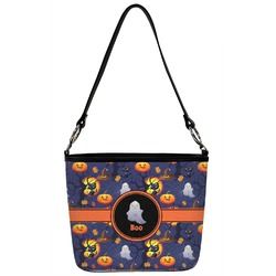 Halloween Night Bucket Bag w/ Genuine Leather Trim (Personalized)