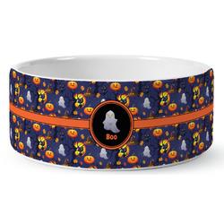 Halloween Night Ceramic Dog Bowl (Personalized)