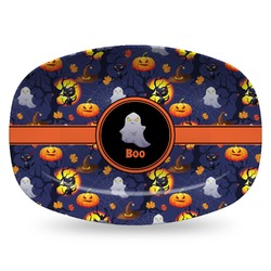 Halloween Night Plastic Platter - Microwave & Oven Safe Composite Polymer (Personalized)