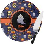 Halloween Night Round Glass Cutting Board (Personalized)