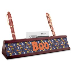Halloween Night Red Mahogany Nameplate with Business Card Holder (Personalized)