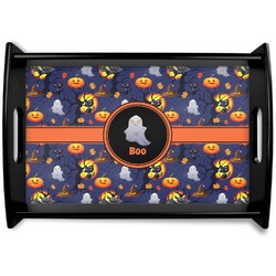 Halloween Night Black Wooden Tray - Small (Personalized)