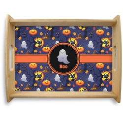Halloween Night Natural Wooden Tray - Large (Personalized)