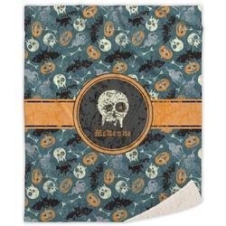 "Vintage / Grunge Halloween Sherpa Throw Blanket - 60""x80"" (Personalized)"