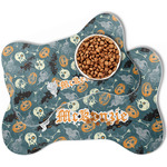 Vintage / Grunge Halloween Bone Shaped Dog Food Mat (Personalized)