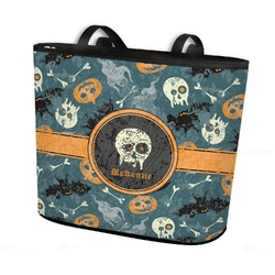 Vintage / Grunge Halloween Bucket Tote w/ Genuine Leather Trim (Personalized)