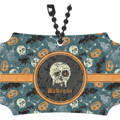 Vintage / Grunge Halloween Rear View Mirror Ornament (Personalized)
