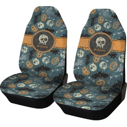 Vintage / Grunge Halloween Car Seat Covers (Set of Two) (Personalized)