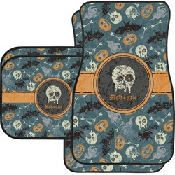 Vintage / Grunge Halloween Car Floor Mats Set - 2 Front & 2 Back (Personalized)