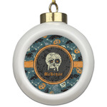 Vintage / Grunge Halloween Ceramic Ball Ornament (Personalized)