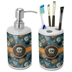Vintage / Grunge Halloween Bathroom Accessories Set (Ceramic) (Personalized)