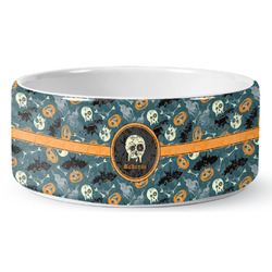 Vintage / Grunge Halloween Pet Bowl (Personalized)