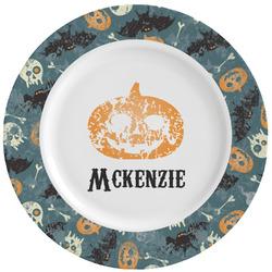 Vintage / Grunge Halloween Ceramic Dinner Plates (Set of 4) (Personalized)