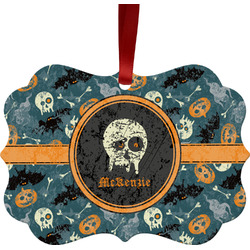Vintage / Grunge Halloween Metal Frame Ornament - Double Sided w/ Name or Text