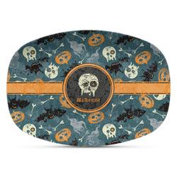 Vintage / Grunge Halloween Plastic Platter - Microwave & Oven Safe Composite Polymer (Personalized)