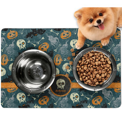 Vintage / Grunge Halloween Dog Food Mat - Small w/ Name or Text