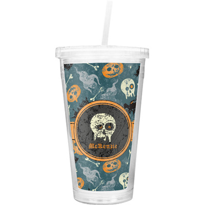 Vintage / Grunge Halloween Double Wall Tumbler with Straw (Personalized)