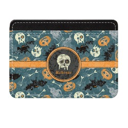 Vintage / Grunge Halloween Genuine Leather Front Pocket Wallet (Personalized)