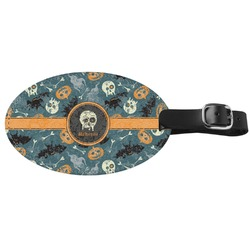 Vintage / Grunge Halloween Genuine Leather Oval Luggage Tag (Personalized)
